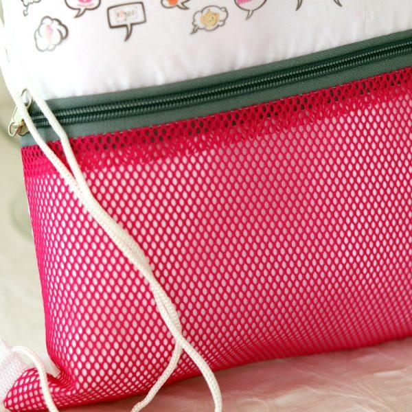 Mochila de playa rosa detalle 3