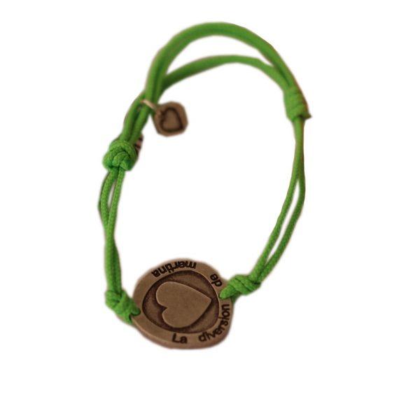 Pulsera cuerda logo bronce